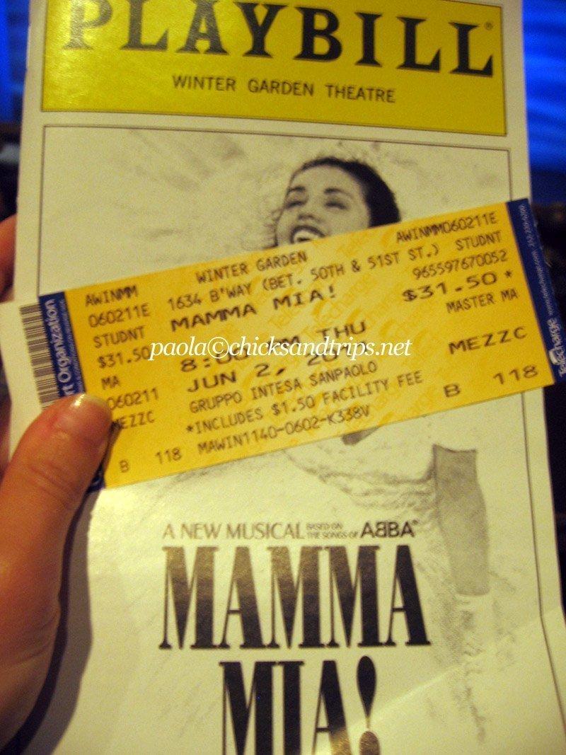 """Biglietto e playbill di """"Mamma Mia!"""""""