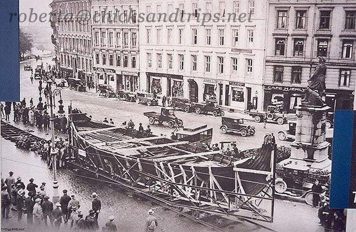 Foto d'epoca: il trasporto della nave vichinga ritrovata (1904 circa)