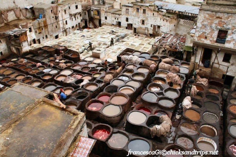 Visitare le concerie di Fès, Marocco