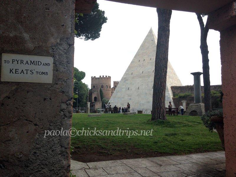 La vista della Piramide da Campo Cestio