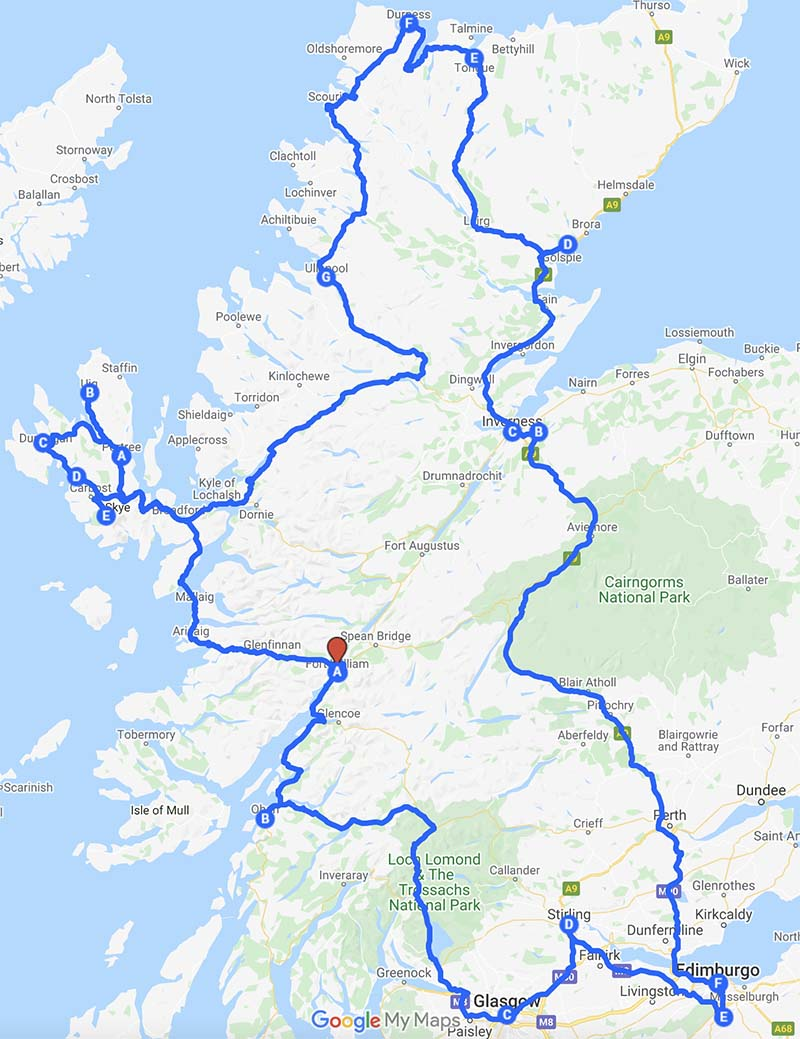 itinerario scozia on the road