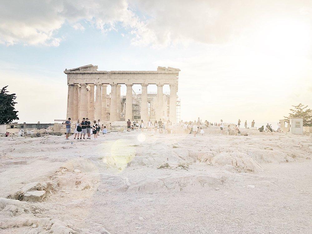 Acropoli di atene tramonto